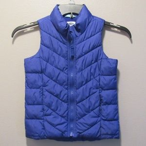 Old Navy Blue Zip Frost Free Puffer Vest Size 6-7